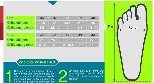 Bảng size giày Quảng Châu và cách đo size giày Quảng Châu